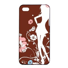 Girl Flowers Silhouette  Apple Iphone 4/4s Seamless Case (black) by amphoto