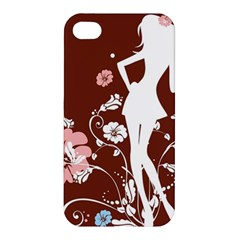 Girl Flowers Silhouette  Apple Iphone 4/4s Hardshell Case by amphoto
