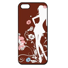 Girl Flowers Silhouette  Apple Iphone 5 Seamless Case (black) by amphoto