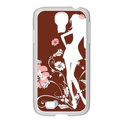 Girl Flowers Silhouette  Samsung Galaxy S4 I9500/ I9505 Case (white) by amphoto