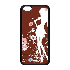 Girl Flowers Silhouette  Apple Iphone 5c Seamless Case (black) by amphoto