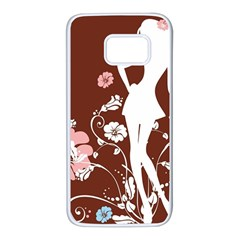 Girl Flowers Silhouette  Samsung Galaxy S7 White Seamless Case by amphoto