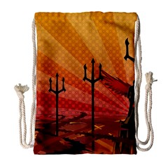 Wings Drawing Poles  Drawstring Bag (large) by amphoto