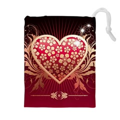 Heart Patterns Lines  Drawstring Pouches (extra Large) by amphoto