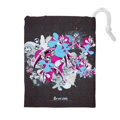 Skulls Ghosts Illustration  Drawstring Pouches (extra Large) by amphoto