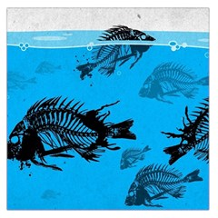Fish Skeleton Paint  Large Satin Scarf (square) by amphoto