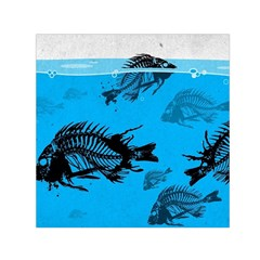 Fish Skeleton Paint  Small Satin Scarf (square) by amphoto