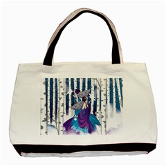 Girl Forest Trees Basic Tote Bag by amphoto