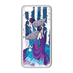 Girl Forest Trees Apple Iphone 5c Seamless Case (white) by amphoto