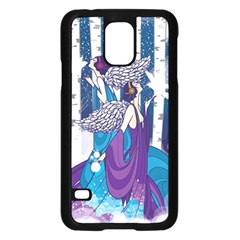 Girl Forest Trees Samsung Galaxy S5 Case (black) by amphoto