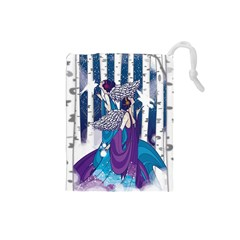 Girl Forest Trees Drawstring Pouches (small)  by amphoto
