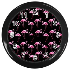 Flamingo Pattern Wall Clocks (black) by Valentinaart