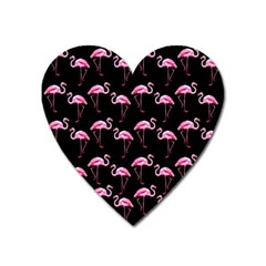 Flamingo Pattern Heart Magnet by Valentinaart