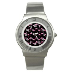 Flamingo Pattern Stainless Steel Watch by Valentinaart