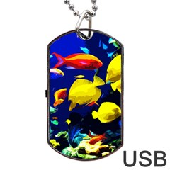 Tropical Fish Dog Tag Usb Flash (two Sides) by Valentinaart