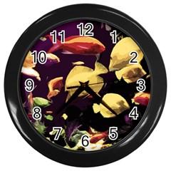 Tropical Fish Wall Clocks (black) by Valentinaart