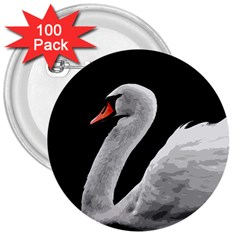 Swan 3  Buttons (100 Pack)  by Valentinaart