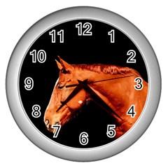 Horse Wall Clocks (silver)  by Valentinaart