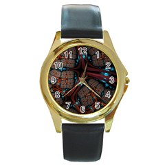 Surface Grid Lines  Round Gold Metal Watch by amphoto