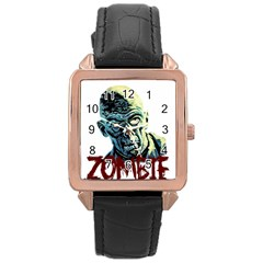 Zombie Rose Gold Leather Watch  by Valentinaart