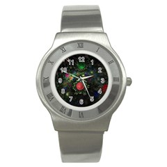 Shapes Circles Flowers  Stainless Steel Watch by amphoto
