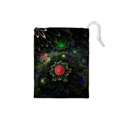 Shapes Circles Flowers  Drawstring Pouches (small)  by amphoto