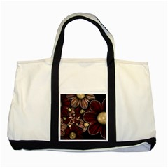 Flower Background Line Two Tone Tote Bag by amphoto