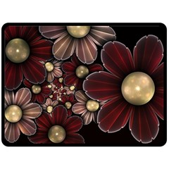 Flower Background Line Double Sided Fleece Blanket (large)  by amphoto