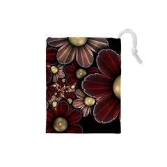 Flower Background Line Drawstring Pouches (small)  by amphoto