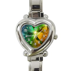 Flowers Petals Colorful  Heart Italian Charm Watch by amphoto