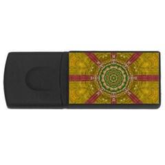 Mandala In Metal And Pearls Rectangular Usb Flash Drive by pepitasart