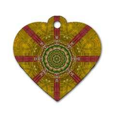 Mandala In Metal And Pearls Dog Tag Heart (one Side) by pepitasart