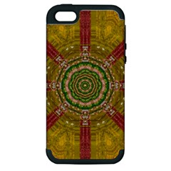Mandala In Metal And Pearls Apple Iphone 5 Hardshell Case (pc+silicone) by pepitasart