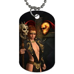 The Dark Side, Women With Skulls In The Night Dog Tag (one Side) by FantasyWorld7