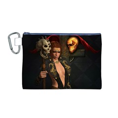 The Dark Side, Women With Skulls In The Night Canvas Cosmetic Bag (m) by FantasyWorld7