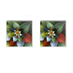 Flower Background Colorful Cufflinks (square) by amphoto