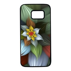 Flower Background Colorful Samsung Galaxy S7 Black Seamless Case by amphoto