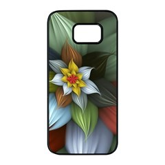 Flower Background Colorful Samsung Galaxy S7 Edge Black Seamless Case by amphoto