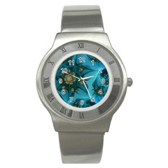 Fractal Flower White Stainless Steel Watch by amphoto