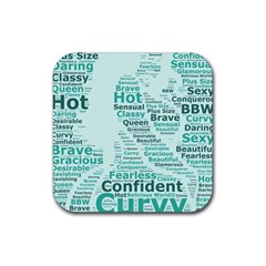 Belicious World Curvy Girl Wordle Rubber Coaster (square)  by beliciousworld