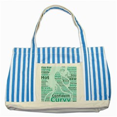 Belicious World Curvy Girl Wordle Striped Blue Tote Bag by beliciousworld