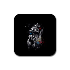 Man Rage Screaming  Rubber Square Coaster (4 Pack)  by amphoto