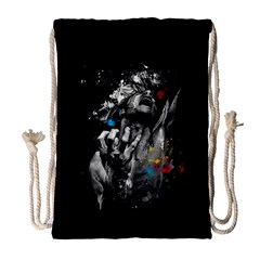 Man Rage Screaming  Drawstring Bag (large) by amphoto