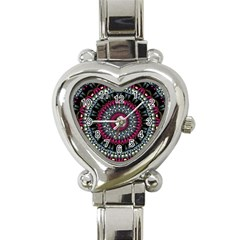 Circles Background Lines  Heart Italian Charm Watch by amphoto