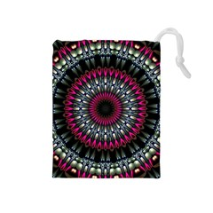 Circles Background Lines  Drawstring Pouches (medium)  by amphoto