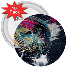 Face Paint Explosion 3840x2400 3  Buttons (10 Pack)  by amphoto