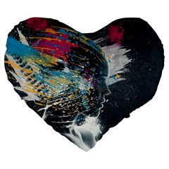 Face Paint Explosion 3840x2400 Large 19  Premium Flano Heart Shape Cushions by amphoto