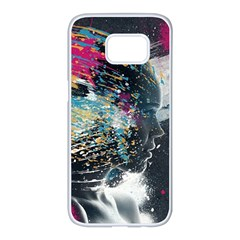 Face Paint Explosion 3840x2400 Samsung Galaxy S7 Edge White Seamless Case by amphoto