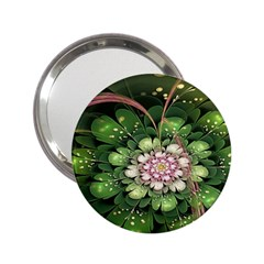 Fractal Flower Petals Green  2 25  Handbag Mirrors by amphoto