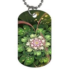Fractal Flower Petals Green  Dog Tag (two Sides) by amphoto